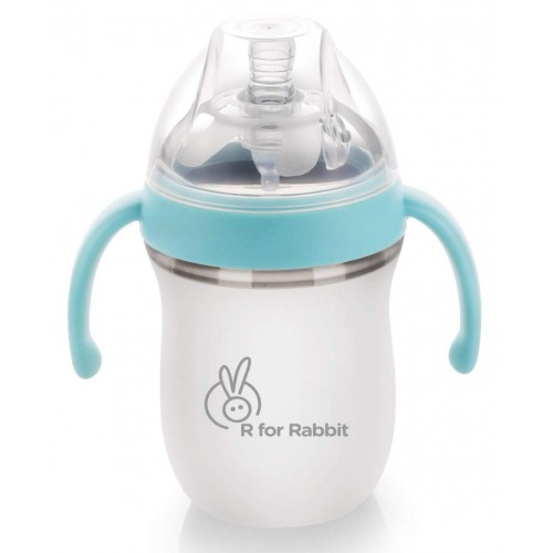 R for Rabbit First Feed 160 ml| 5 fl Oz Silicon Feeding Bottle for New Born Babies of 0 Month Plus (Blue)