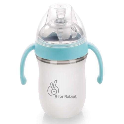R for Rabbit First Feed 260 ml| 9 fl Oz Silicone Feeding Bottle for New Born Babies (Blue)
