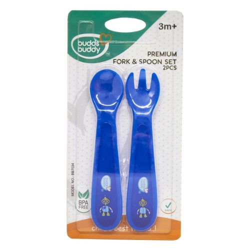 Buddsbuddy Premium Bubble Fork & Spoon , 2pcs Set, Blue