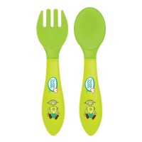Buddsbuddy Premium Heat Sensitive Fork & Spoon, 2pcs set, Green, (Age: 6m+)