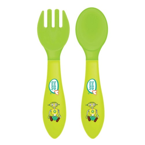 Buddsbuddy Premium Heat Sensitive Fork & Spoon, 2pcs set, Green, (Age: 6m+)