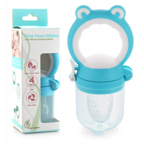 R for Rabbit First Feed Silicone Nibbler for Babies of 4 months Plus (Blue)