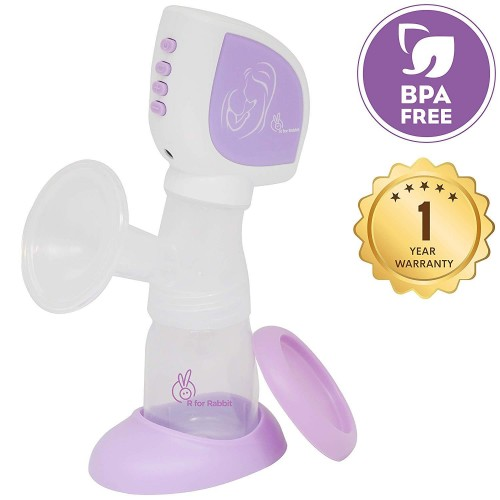R for Rabbit First Feed Comfort Electric Breast Pump - Most Safe and Comfortable Breast Pump for Mothers (Purple)