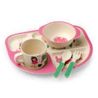 Luvlap Bamboo Cutlery Set – Pink