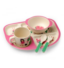 Buy Luvlap Bamboo Cutlery Set – Pink Online in India