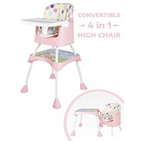 R for Rabbit Cherry Berry Grand - The Convertible 4 in 1 Feeding High Chair for Baby/Kids (Pink)