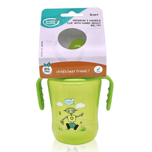 BuddsbuddyPremium 2 Handle Sippy Cup with Hard Spout (Big), 250ml, Green