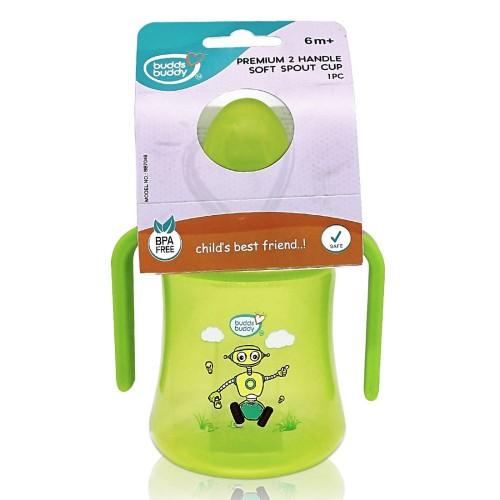 BuddsbuddyPremium 2 Handle Soft Spout Sippy Cup, 270ml, Green
