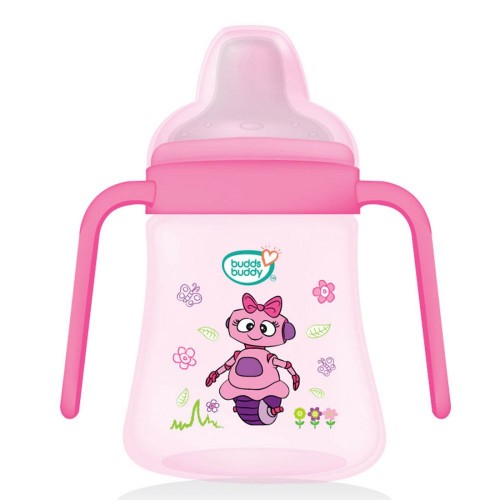 BuddsbuddyPremium 2 Handle Soft Spout Sippy Cup, 270ml, Pink