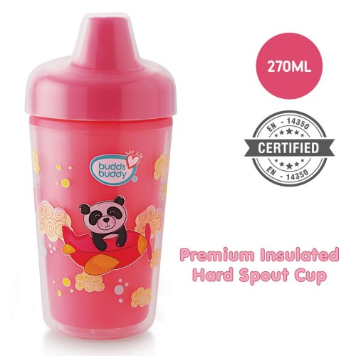 BuddsbuddyPremium Insulated Hard Spout Cup 1Pc, 270 ml, Pink