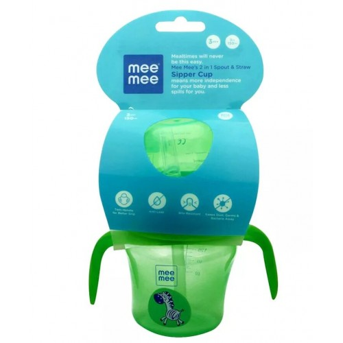 Mee Mee 2 In 1 Spout & Straw Sipper Cup, Green (150ml)