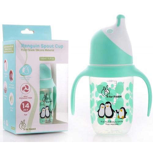 R for Rabbit Penguin Spout Sipper Bottle for Babies of 14 months Plus (Green)