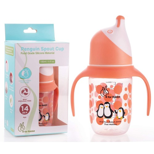 R for Rabbit Penguin Spout Sipper Bottle for Babies of 14 months Plus (Orange)