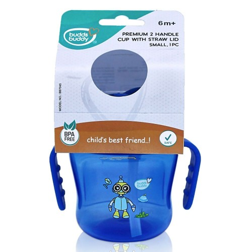BuddsbuddyPremium 2 Handle Sippy Cup with Straw Lid (Small), 150ml, Blue