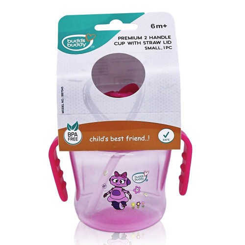 Buddsbuddy	Premium 2 Handle Sippy Cup with Straw Lid (Small), 150ml, Pink