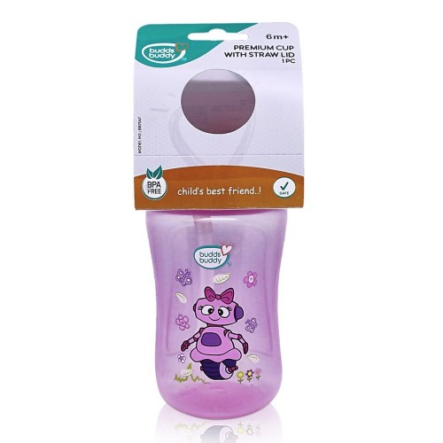 BuddsbuddyPremium Sippy Cup With Straw Lid, 300ml, Pink