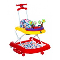 Mee Mee Premium 3 In 1 Baby Walker with Rocker & Push Walking (Red)