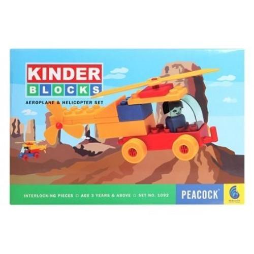 Peacock Kinder Blocks - Aeroplane & Helicopter Set