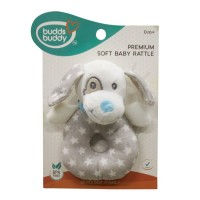 Buddsbuddy Funny Dog Shaped Premium Soft Baby Rattle (Blue)