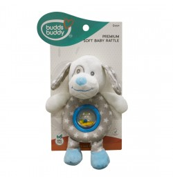 Buddsbuddy Premium Soft Funny Dog Shaped Baby Rattle(Music) (Blue)