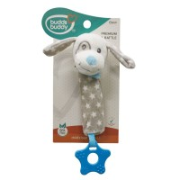 Buddsbuddy Premium Soft Funny Dog Shaped Baby Rattle Poo Sound (Blue)
