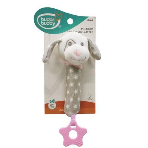 Buddsbuddy Premium Soft Funny Dog Shaped Baby Rattle Poo Sound (Pink)