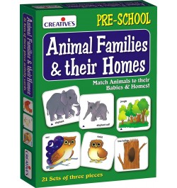 Buy Creative's Animal Families and Their Homes Card Game (Multi-Color, 63 Pieces) Online in India