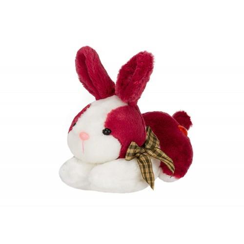 Dhoom Soft Toys Bunny Lying 20 CM-Maroon-White