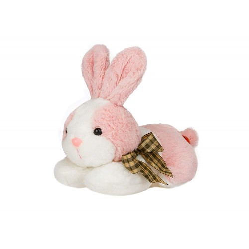 Dhoom Soft Toys Bunny Lying 20 CM-Pink-White