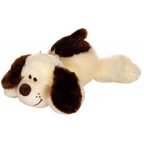 Dhoom Soft Toys Dog Lying 50 CM-Cream and Brown