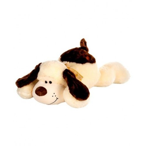Dhoom Soft Toys Dog Lying 75 CM-Cream and Brown