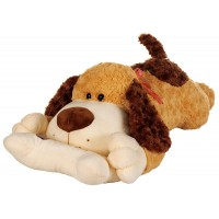 Dhoom Soft Toys Dog Lying with Bone 80 CM-Brown