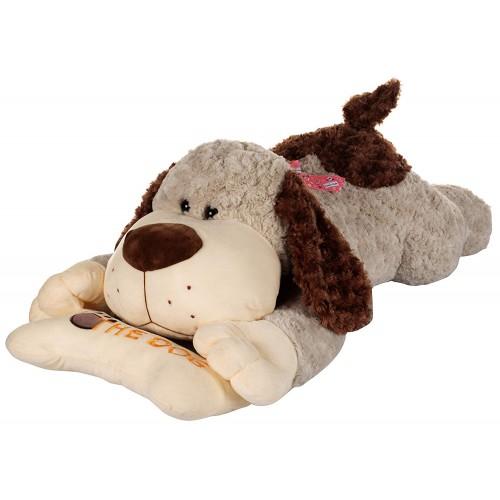 Dhoom Soft Toys Dog Lying with Bone 80 CM-Grey