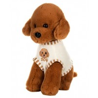 Dhoom Soft Toys Dog Standing with Dress 32 CM-Dress Brown