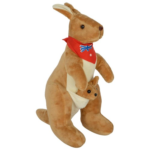 Dhoom Soft Toys Kangaroo 30 CM-Scarf Brown