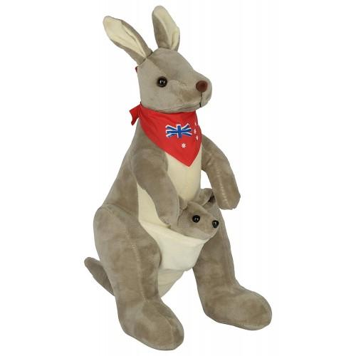 Dhoom Soft Toys Kangaroo 30 CM-Scarf Grey