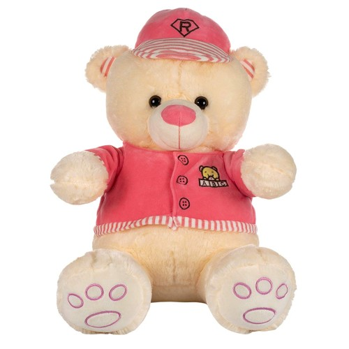 Dhoom Soft Toys Teddy Bear with Cap & Jacket 55 CM-Pink