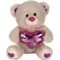 Dhoom Soft Toys Teddy Bear with Heart 32 CM-Camel