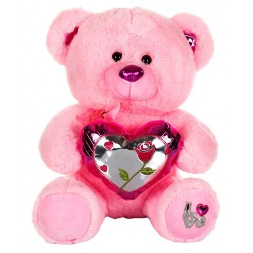 Dhoom Soft Toys Teddy Bear with Shine Heart 32 CM-Pink