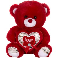 Dhoom Soft Toys Teddy Bear with Heart 32 CM-Red & Brown