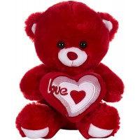 Dhoom Soft Toys Teddy Bear with Heart 32 CM-Red & Pink
