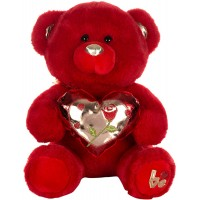 Dhoom Soft Toys Teddy Bear with Shine Heart 32 CM-Red