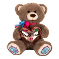 Dhoom Soft Toys Teddy Bear with Heart 32 CM-Shine Heart Brown