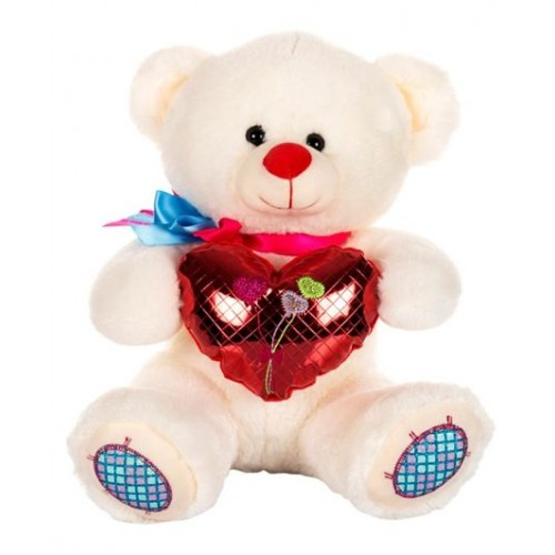 Dhoom Soft Toys Teddy Bear with Heart 32 CM-Shine Heart White