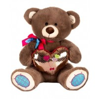 Dhoom Soft Toys Teddy Bear with Heart 50 CM-Shine Heart Brown
