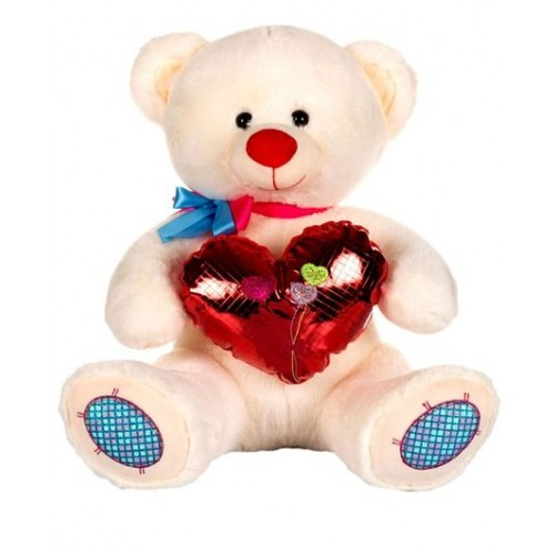 Dhoom Soft Toys Teddy Bear with Heart 50 CM-Shine Heart White