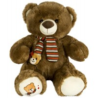 Dhoom Soft Toys Teddy Bear with Muffler 40 CM-Dark Brown