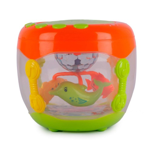 Flash Drum Rotating 3D Lights & Fish With Music Songs & English Learner (Multi-Color)