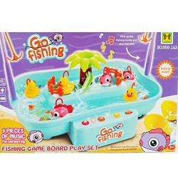 Go Fishing Game Board Playset for Kids with Flashing Lights & 6 Pieces of Music, Floating Ducks, Fishes and Running Water- Fun & Learning Game (Color May Vary)
