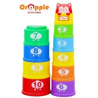 Orapple Toys by R for Rabbit -Stack It Learning Cups with Music for Kids